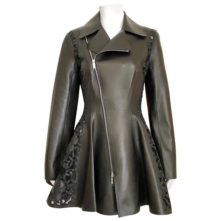 Christian Dior Black Leather Peplum Jacket with Lace  For Sale