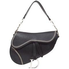 Christian Dior Black Leather Stitch Silver Logo Saddle Top Handle Shoulder Bag