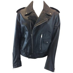 Christian Dior Black Leather Studded Moto Jacket