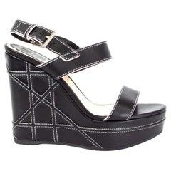 CHRISTIAN DIOR black leather YACHT WEDGE Platform Sandals Shoes 37