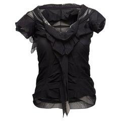 Christian Dior Black Mesh Short Sleeve Top