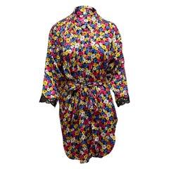 Christian Dior Black & Multicolor Floral Print Robe