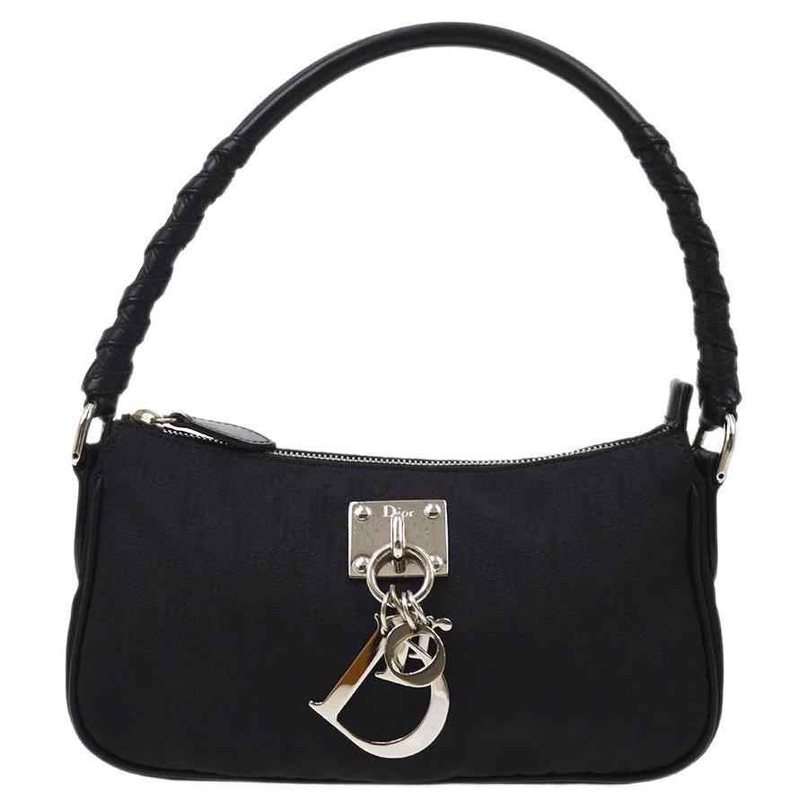 Christian Dior Black Nylon Leather Silver Charm Top Handle Pochette Shoulder Bag