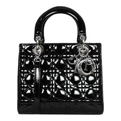 Christian Dior Black Patent Leather Cannage Medium Lady Dior Bag rt. $4,100