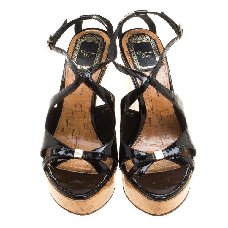 74671584c Beige Christian Dior Black Patent Leather Dior Starlet Platform Cork Wedges  Size 37 For Sale