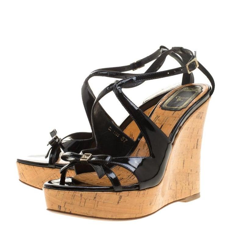 85c708b9a Christian Dior Black Patent Leather Dior Starlet Platform Cork Wedges Size  37 For Sale 3