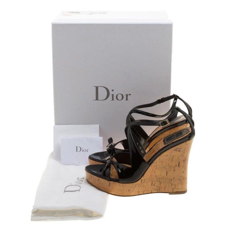 c07d2d2d6 Christian Dior Black Patent Leather Dior Starlet Platform Cork Wedges Size  37 For Sale 4