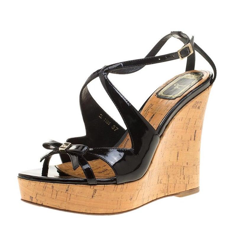 306df659f Christian Dior Black Patent Leather Dior Starlet Platform Cork Wedges Size  37 For Sale