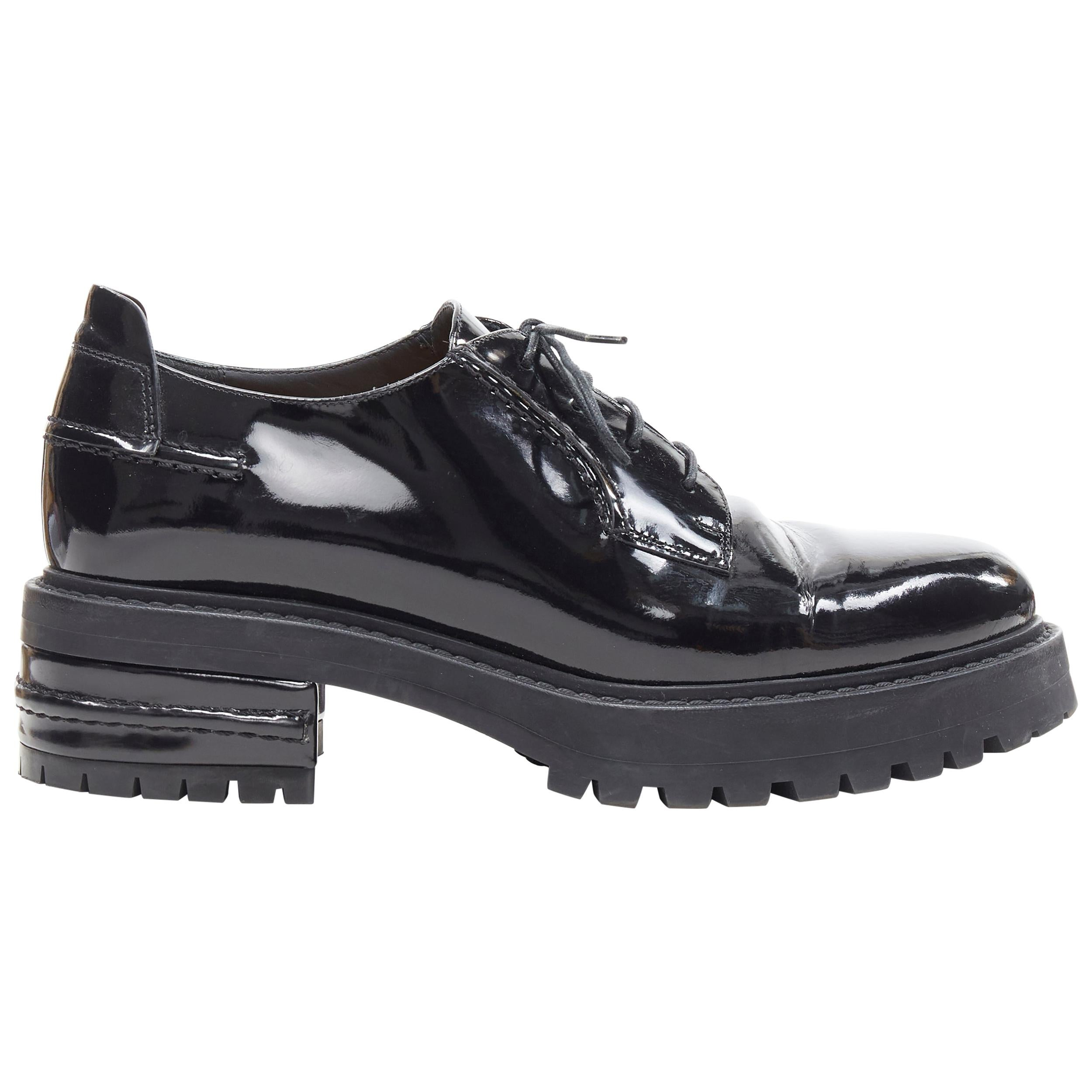 CHRISTIAN DIOR black patent stacked trucker platform sole lace up brogue EU38