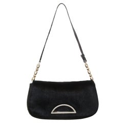Christian Dior Black Pony Hair Malice Shoulder  Bag