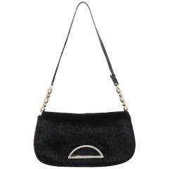 Christian Dior Black Pony Hair Malice Shoulder  Bag