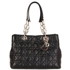 CHRISTIAN DIOR black quilted leather CANNAGE Soft Tote Shoulder Bag