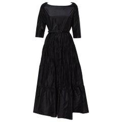 Christian Dior Black Silk Belted Tiered Maxi Dress L