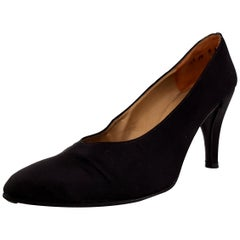 Christian Dior Black Silk  Heels with the low-tip in steel - NEW, size 9 1/2
