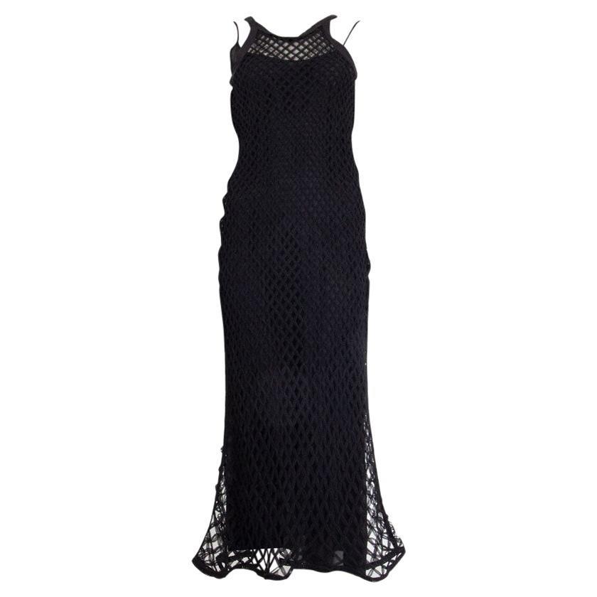 CHRISTIAN DIOR black silk & tulle NET Layered Midi Dress XS