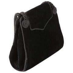 Christian Dior Black Silk Velvet Braided Evening Bag
