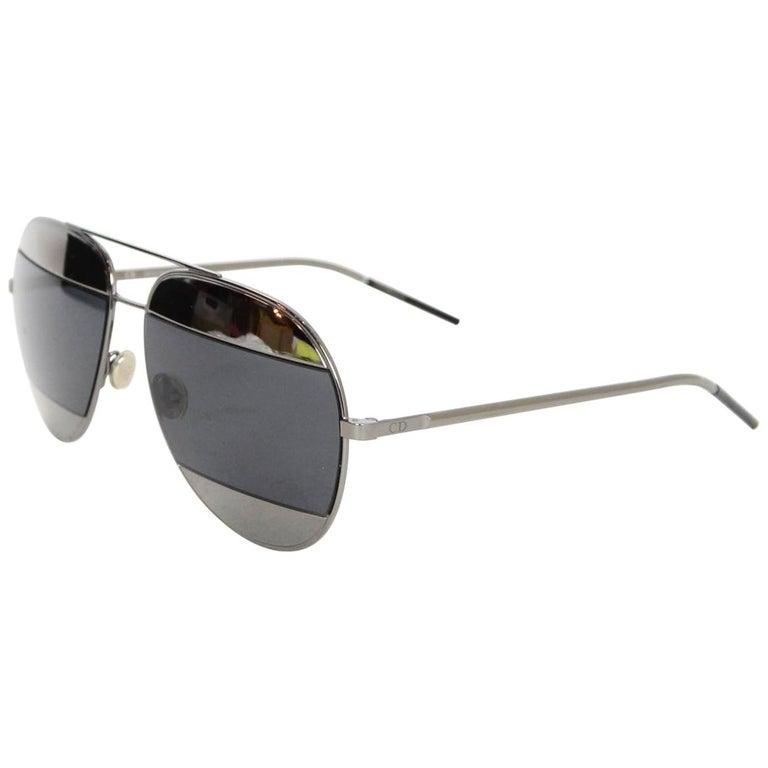 bcc8f00d00ba Christian Dior Black/Silver Mirror Split 1 Aviator Metal Unisex Sunglasses  For Sale