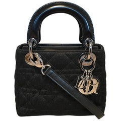 Christian Dior Black Sparkle Knit Mini Lady Dior Bag