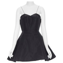 CHRISTIAN DIOR black sweetheart spaghetti strap fit flared tulle dress Fr38 M