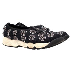 Christian Dior Black Technical Fabric Embellished Slip-on Trainers Size 39