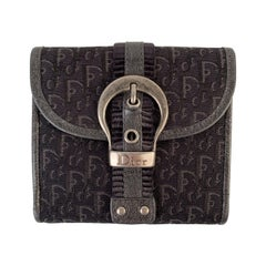 Christian Dior Black Trotter Canvas Buckle Compact Wallet