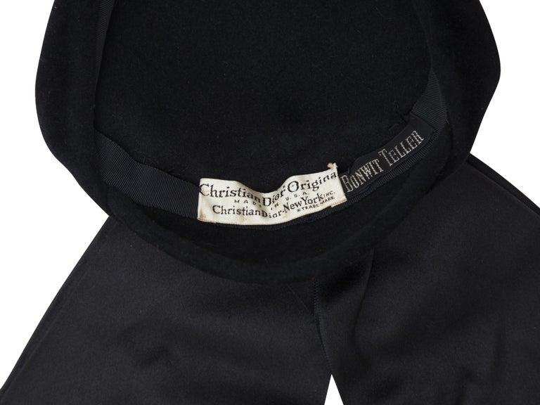 Christian Dior Black Velvet 50s-60s Hat For Sale 1