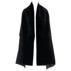 CHRISTIAN DIOR black velvet cannage geometric stitch silk lined shawl scarf