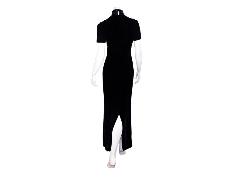 Christian Dior Black Velvet Maxi Dress In Good Condition For Sale In New York, NY