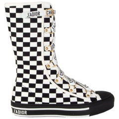 CHRISTIAN DIOR black & white CHECK WALK N Sneaker Boots Shoes 38.5