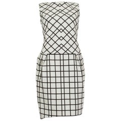 CHRISTIAN DIOR black & white cotton PLAID Sleeveless Sheath Dress 34