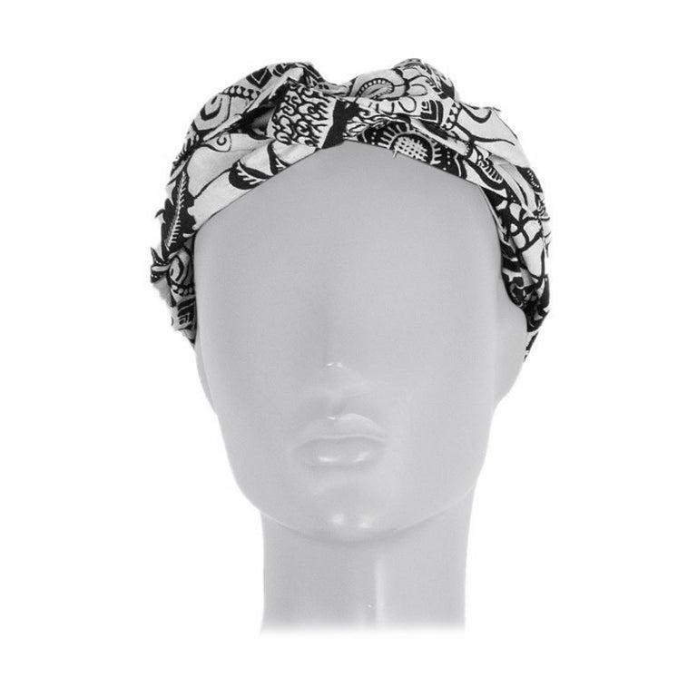 CHRISTIAN DIOR black & white cotton TOILE DE JOUY Headband For Sale