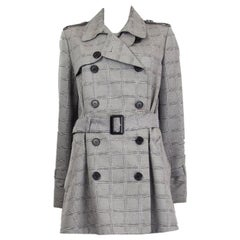 CHRISTIAN DIOR black white wool silk CANNAGE TRENCH Coat Jacket 40 M