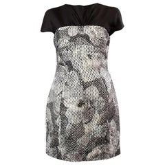 CHRISTIAN DIOR black & white wool & silk FLORAL LAYERED Cocktail Dress 38