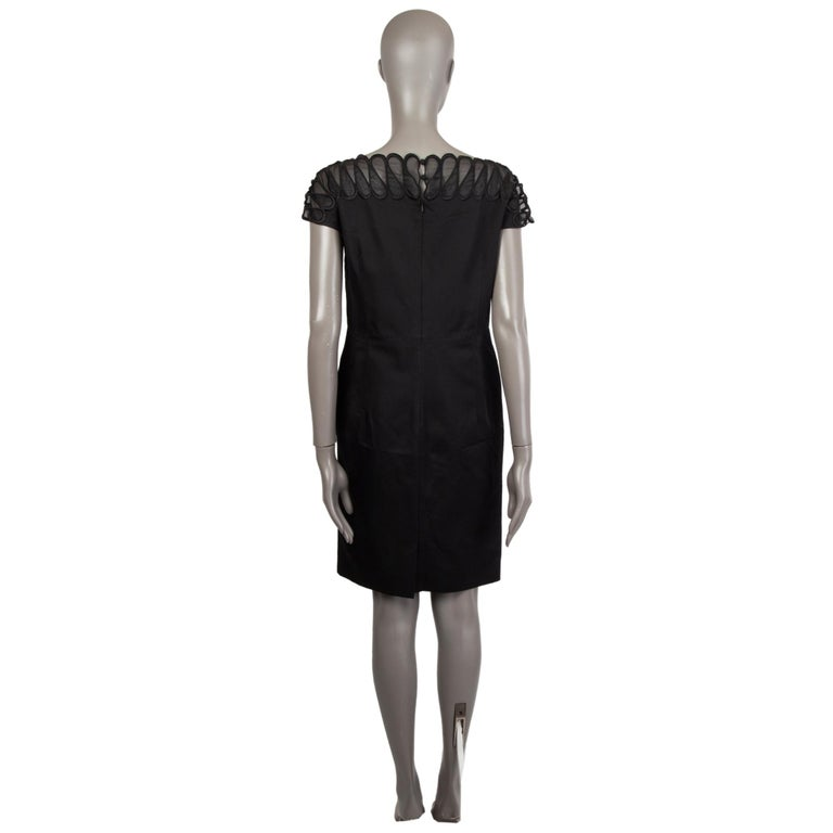 Black CHRISTIAN DIOR black wool & silk EMBROIDERED Cocktail Dress 44 XL For Sale