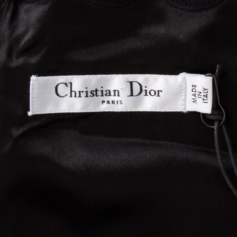 Women's CHRISTIAN DIOR black wool & silk EMBROIDERED Cocktail Dress 44 XL For Sale