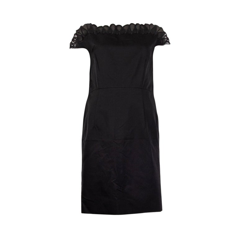 CHRISTIAN DIOR black wool & silk EMBROIDERED Cocktail Dress 44 XL For Sale