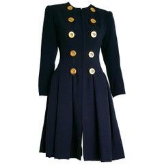 Christian DIOR bleu, gilding buttons, cashemere and silk dress  - Unworn, New