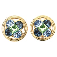 Christian Dior Blue and Green Clip On Earrings Vintage