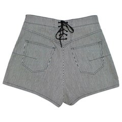 Christian Dior Blue and White Striped Bee Embroidered Shorts FR 42