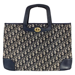 Christian Dior Blue Beige Leather Canvas Tapestry Monogram Bag 1970s