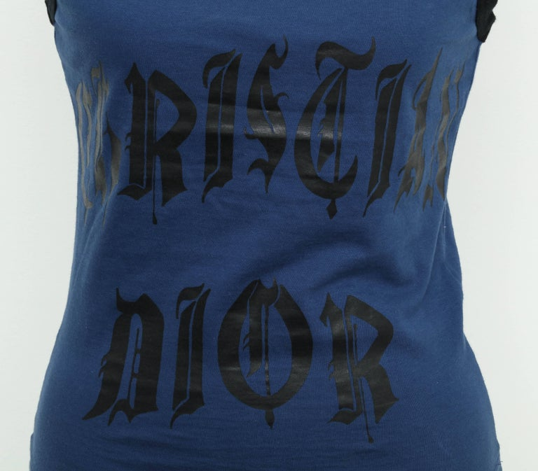 Christian Dior Blue/Black Tank Top with gothic logo.   French Size 38.