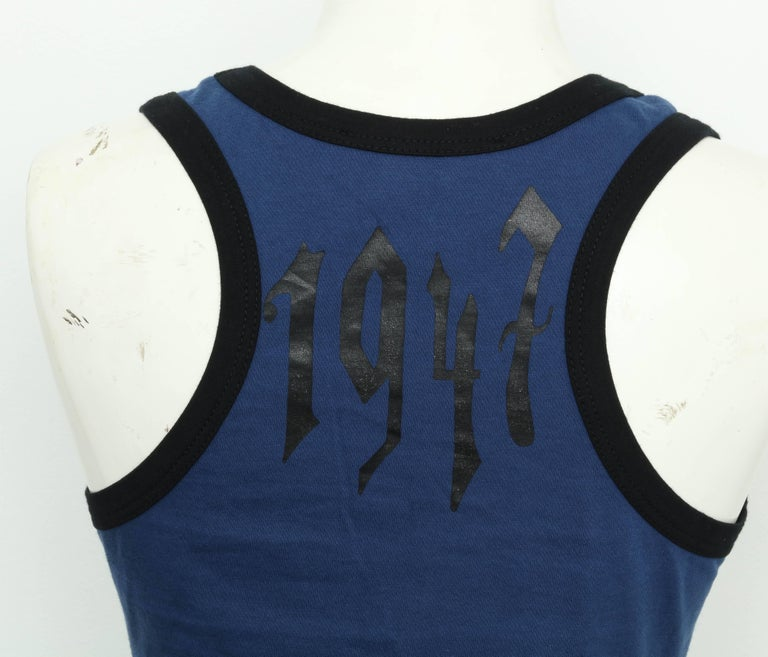 Women's Christian Dior Blue / Black Gothic Logo Tank Top T-shirt