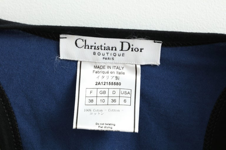 Christian Dior Blue / Black Gothic Logo Tank Top T-shirt 2