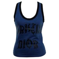 Christian Dior Blue / Black Gothic Logo Tank Top T-shirt