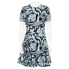 Christian Dior Blue & Black Printed Cotton Pleated Mini Dress L