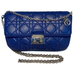 Christian Dior Blue Cannage Quilted Leather Flap Bag