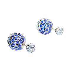 Christian Dior Blue Crystal Mise En Dior Tribal Earrings
