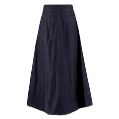 Christian Dior Blue Denim Maxi Skirt S 38