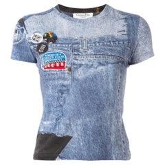 Christian Dior Blue Jean Denim Print Short Sleeve Fitted T-Shirt Shirt