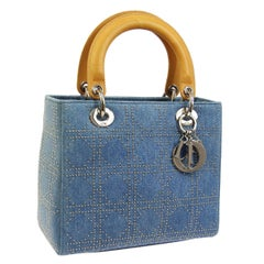 Christian Dior Blue Jean Fabric Gold Leather Top Handle Satchel Shoulder Bag